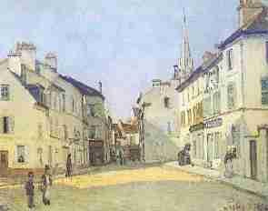Sisley Rue de la Chaussee a Argenteuil - L'écriture dans le tableau