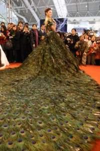 Une robe avec 2009 plumes de paon